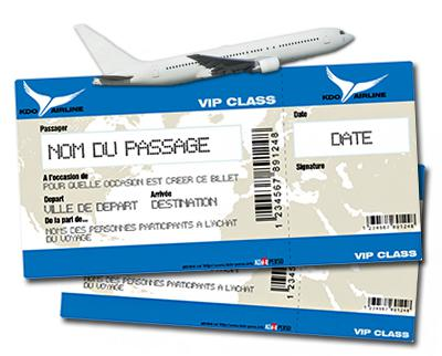 billet avion factice