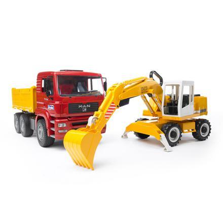 camion benne avec pelleteuse bruder