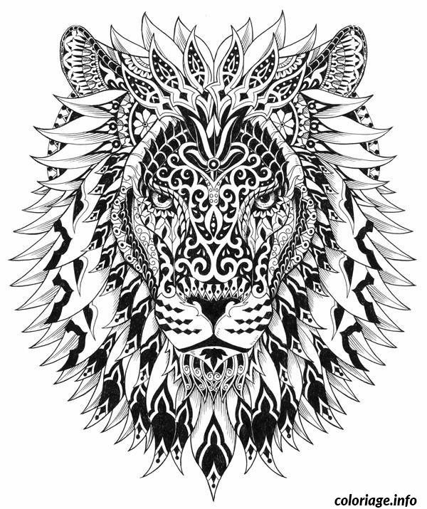 coloriage adulte lion