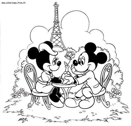 coloriage minnie et mickey