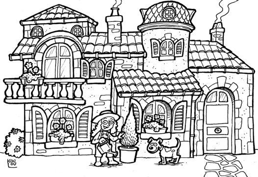 dessin maison à colorier