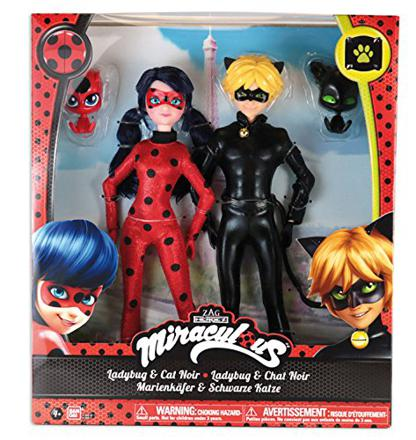 figurine ladybug et chat noir