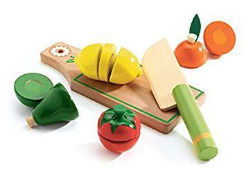 fruits et légumes en bois à couper djeco