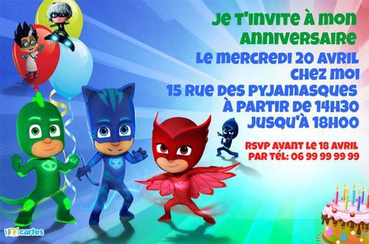 invitation anniversaire pyjamasque