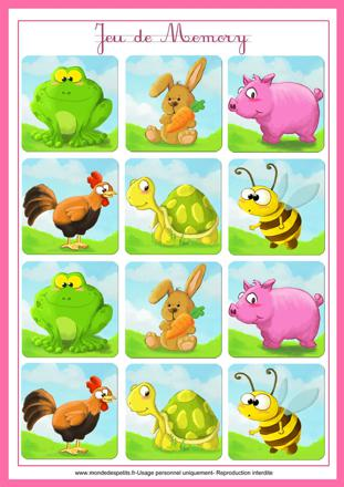 jeux memory animaux