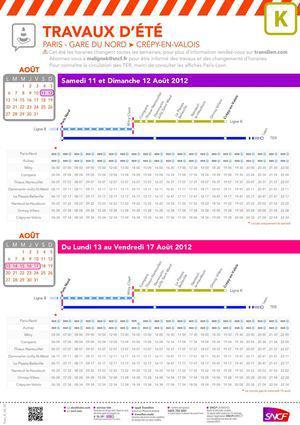 ligne k horaire