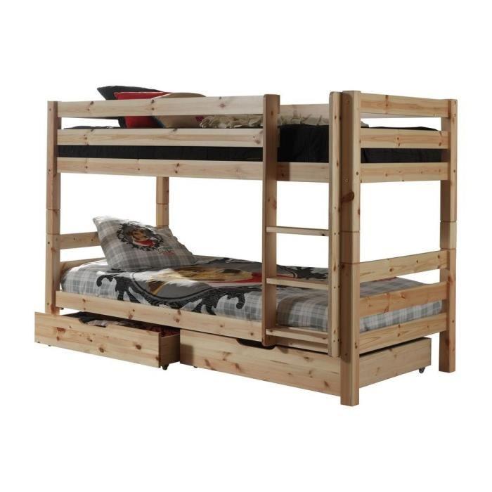 lits superposés en bois