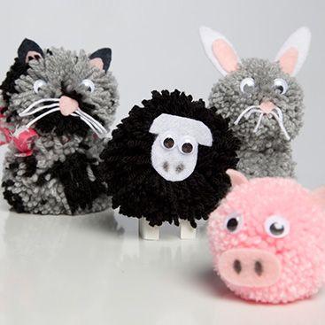 pompon en laine animaux