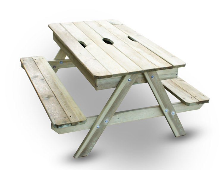 table en bois bac a sable